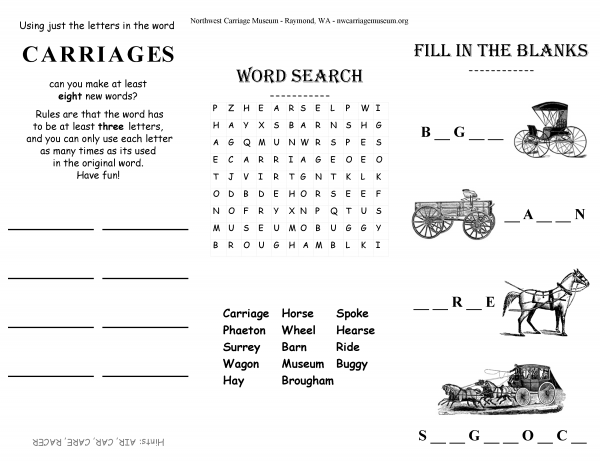 carriage activity sheet